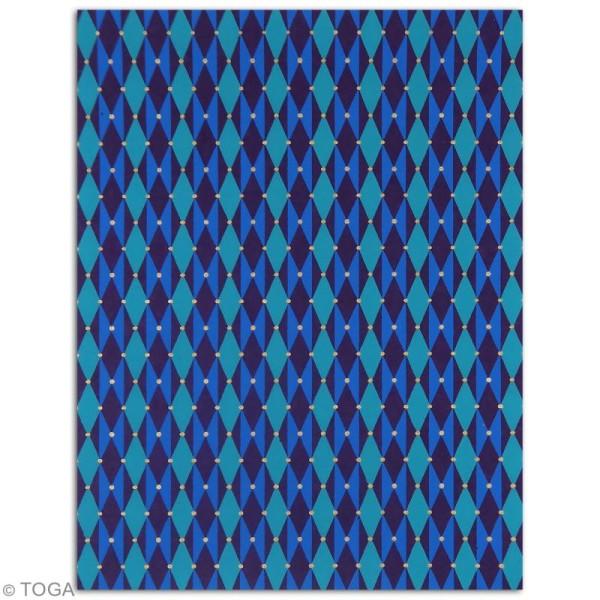 Papier l'Or de Bombay 27,8 x 21,2 cm - Bleu et Violet - 6 feuilles - Photo n°5