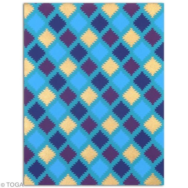Papier l'Or de Bombay 27,8 x 21,2 cm - Bleu et Violet - 6 feuilles - Photo n°6