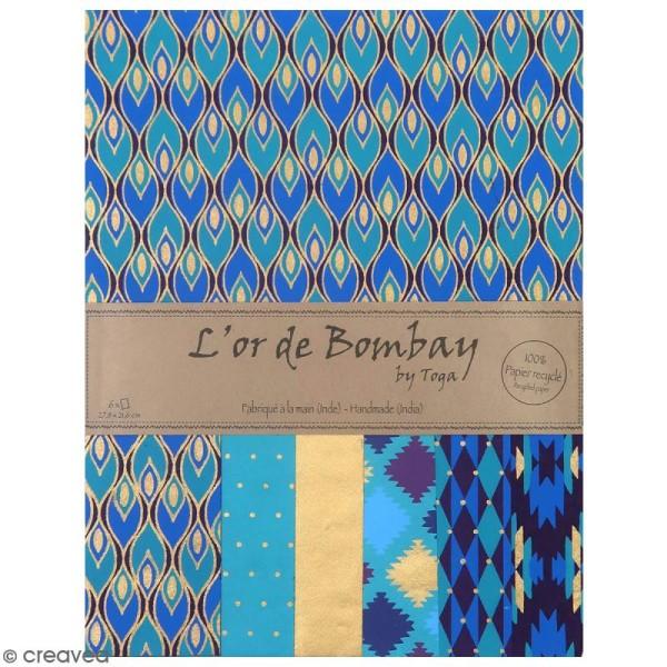 Papier l'Or de Bombay 27,8 x 21,2 cm - Bleu et Violet - 6 feuilles - Photo n°1