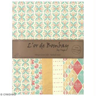 Papier l'Or de Bombay 27,8 x 21,2 cm - Pastel - 6 feuilles