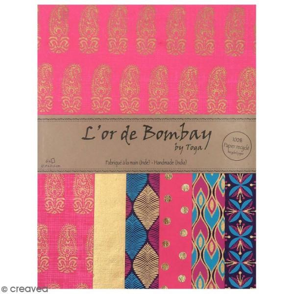 Papier l'Or de Bombay 27,8 x 21,2 cm - Violet et Fuchsia - 6 feuilles - Photo n°1