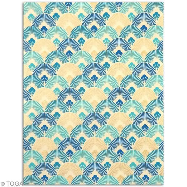 Papier l'Or de Bombay 27,8 x 21,2 cm - Bleu Azur - 6 feuilles - Photo n°2