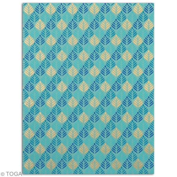Papier l'Or de Bombay 27,8 x 21,2 cm - Bleu Azur - 6 feuilles - Photo n°3