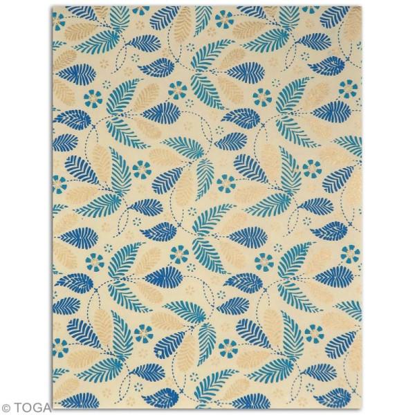 Papier l'Or de Bombay 27,8 x 21,2 cm - Bleu Azur - 6 feuilles - Photo n°5