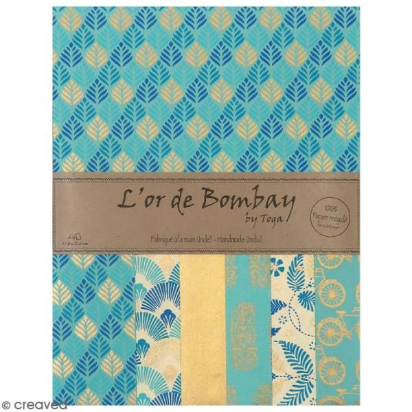Papier l'Or de Bombay 27,8 x 21,2 cm - Bleu Azur - 6 feuilles - Photo n°1