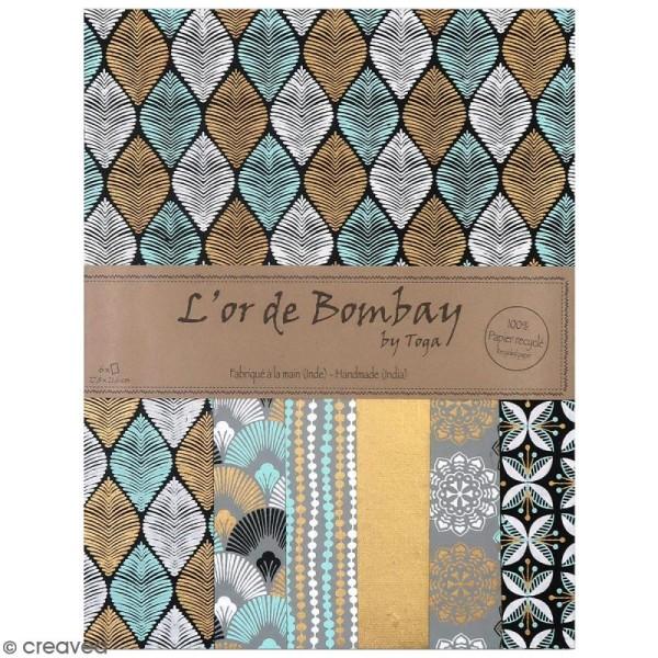 Papier l'Or de Bombay 27,8 x 21,2 cm - Noir et bleu - 6 feuilles - Photo n°1