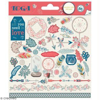 Stickers Toga - Hygge - 2 planches de 15 x 15 cm - 86 pcs