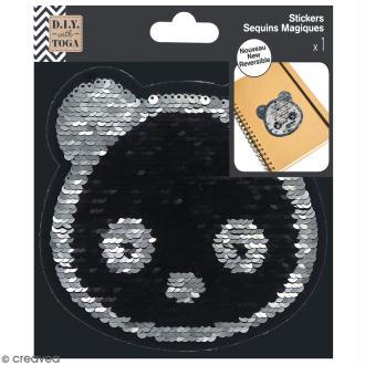 Grand sticker à sequins réversibles - Panda - 13 x 13 cm
