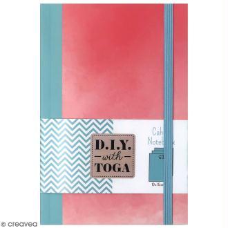Carnet de poche bicolore - 60 pages - Corail et Bleu - 10 x 15 cm