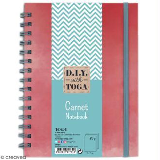 Carnet à spirales bicolore - 60 pages - Corail et Bleu - 15 x 21 cm