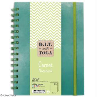Carnet à spirales bicolore - 60 pages - Vert pomme et Vert - 15 x 21 cm