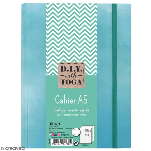 Carnet de poche bicolore A5 - Couverture rigide - Bleu - 192 pages - Photo n°1