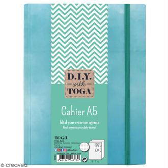 Carnet de poche bicolore A5 - Couverture rigide - Bleu - 192 pages