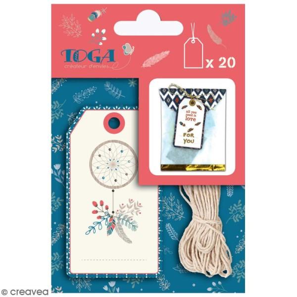 Set étiquettes imprimées et ficelle twine Toga - Hygge - 20 pcs - Photo n°1