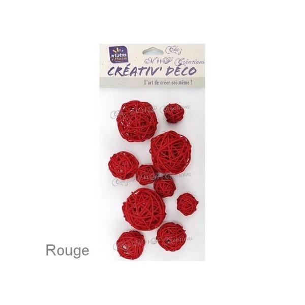 Assortiment De 10 Boules En Osier (Rouge Ou Naturel) - Photo n°1