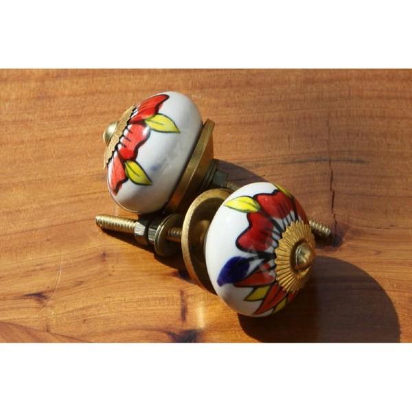 Bouton rond de porte ou tiroir, blanc et dessins multicolores,  de 35 mm de diamètre. - Photo n°2