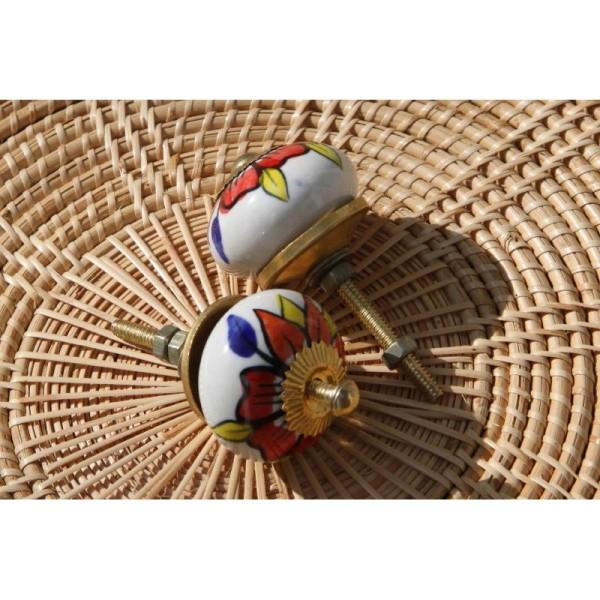 Bouton rond de porte ou tiroir, blanc et dessins multicolores,  de 35 mm de diamètre. - Photo n°3