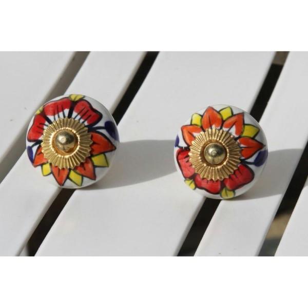 Bouton rond de porte ou tiroir, blanc et dessins multicolores,  de 35 mm de diamètre. - Photo n°1