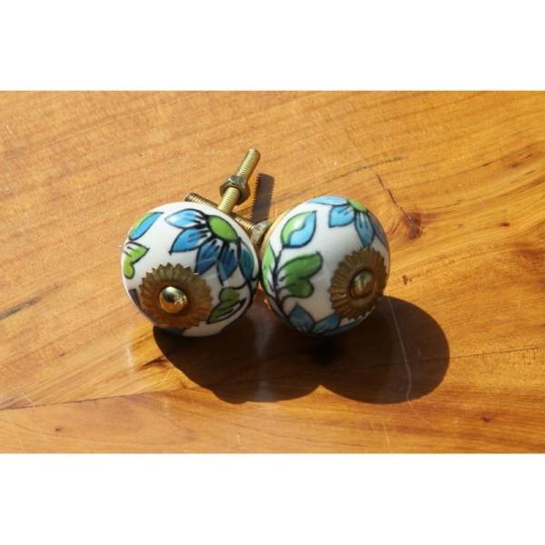 Bouton rond de porte ou tiroir, vert et bleu,  de 35 mm de diamètre. - Photo n°2