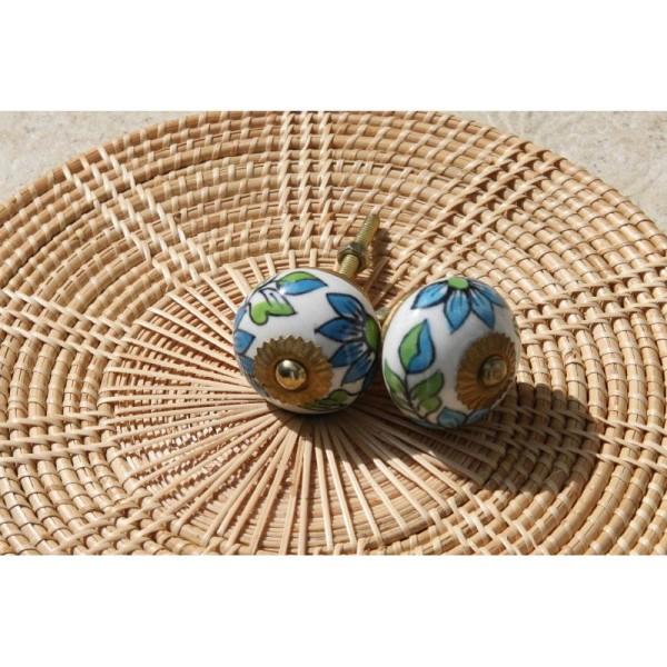 Bouton rond de porte ou tiroir, vert et bleu,  de 35 mm de diamètre. - Photo n°3