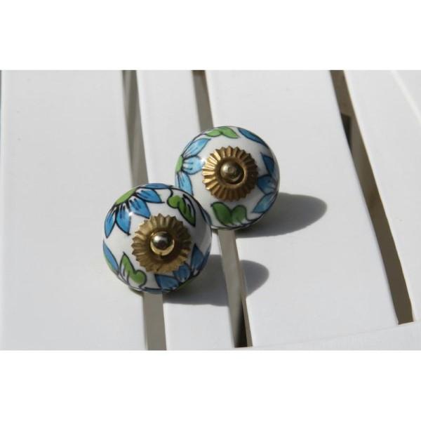 Bouton rond de porte ou tiroir, vert et bleu,  de 35 mm de diamètre. - Photo n°1