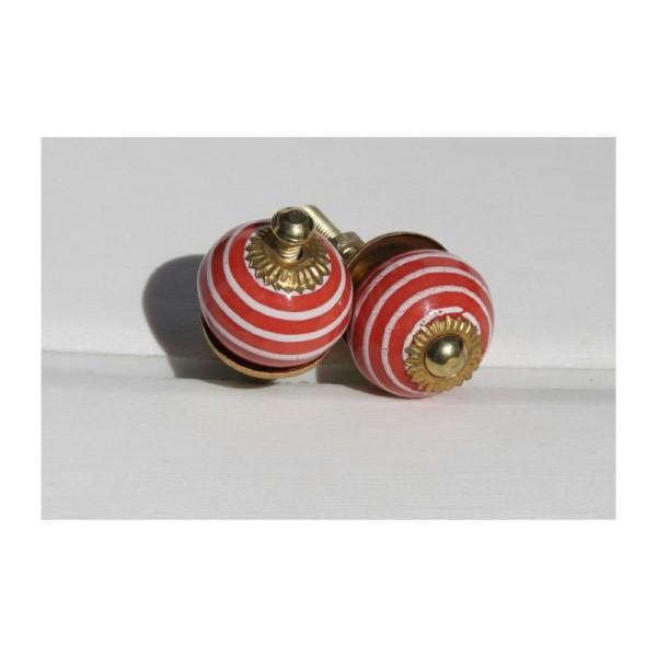 Bouton rond de porte ou tiroir, rouge avec spirale blanche,  de 30 mm de diamètre. - Photo n°1