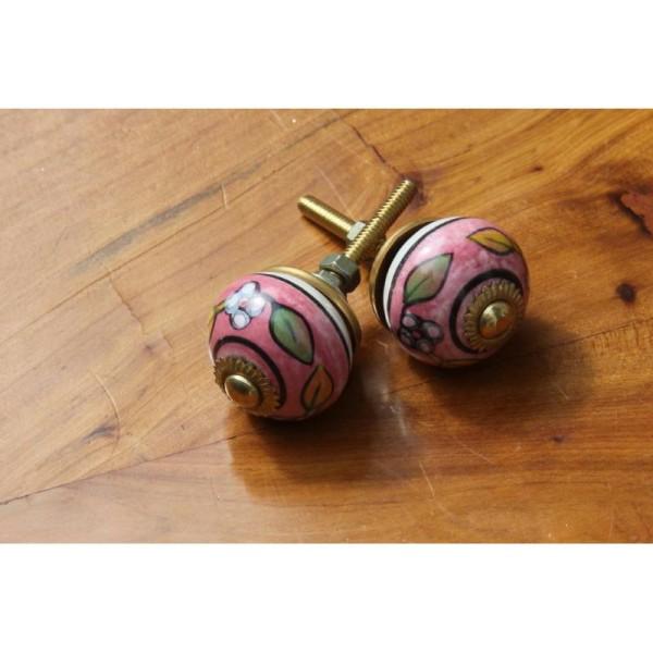 Bouton rond de porte ou tiroir, rose,  de 30 mm de diamètre. - Photo n°2