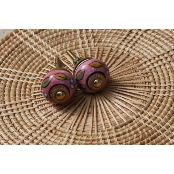 Bouton rond de porte ou tiroir, rose,  de 30 mm de diamètre. - Photo n°3