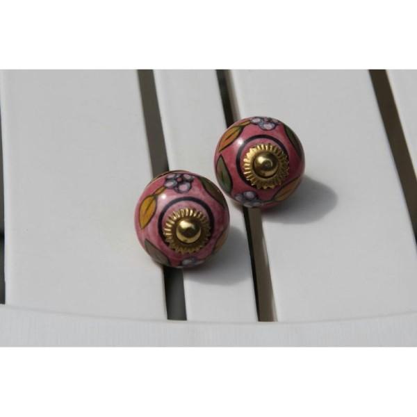 Bouton rond de porte ou tiroir, rose,  de 30 mm de diamètre. - Photo n°1