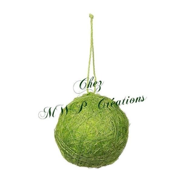 Boule De Sisal Avec Ficelle (Diam.4Cm) - Verte - Lot De 4 - Photo n°1
