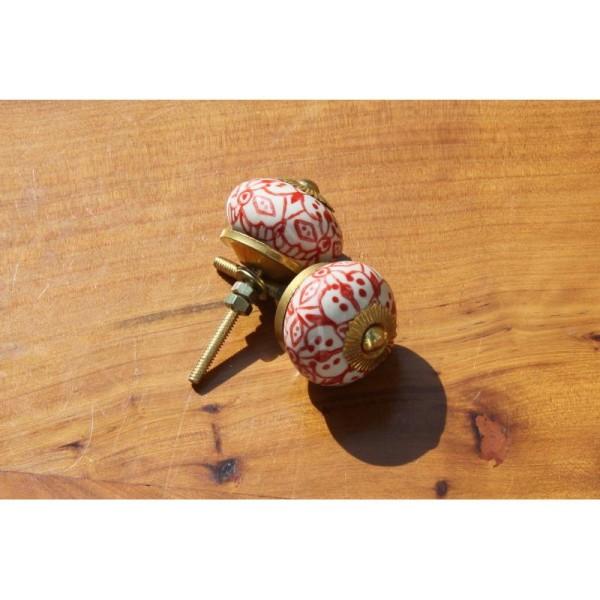 Bouton rond de porte ou tiroir, blanc avec dessins rouges,  de 30 mm de diamètre. - Photo n°2