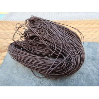 Cordon coton ciré marron, macramé tissage bijoux, 1 échevau de 80 mètres/1 mm de diamètre