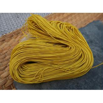 Cordon coton ciré jaune, macramé tissage bijoux, 1 échevau de 80 mètres/1 mm de diamètre