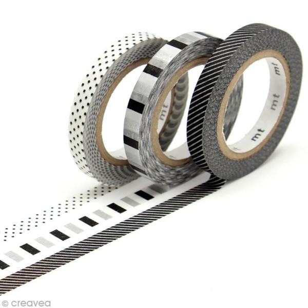 Masking tape slim - Déco noir & blanc - 3 rouleaux 6 mm x 10 m - Photo n°1