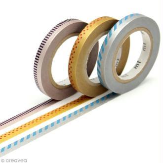 Masking tape slim - Déco argent et doré - 3 rouleaux 6 mm x 10 m