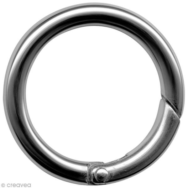 Mousqueton rond argenté - 4,5 cm - Photo n°1