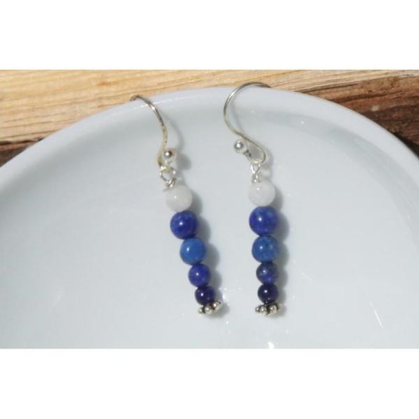 Boucles d'oreilles en lapis lazuli et argent - Photo n°2