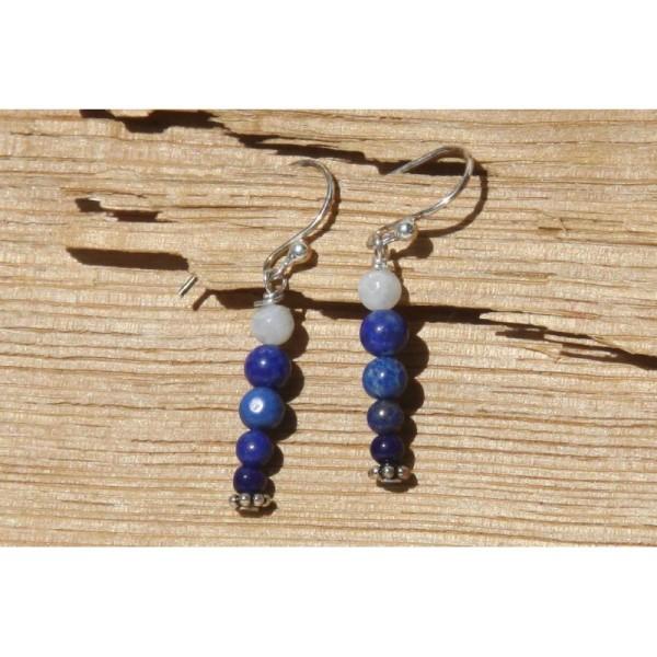 Boucles d'oreilles en lapis lazuli et argent - Photo n°1