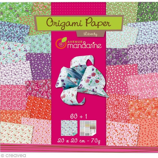 Origami 20 x 20 cm - Liberty - 60 papiers - Photo n°1