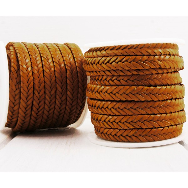 0,92 m 3ft 1yrd d'unité centrale de Brown en Cuir Souple de Corde Tressé Plat Cordon Bracelet Collie - Photo n°1