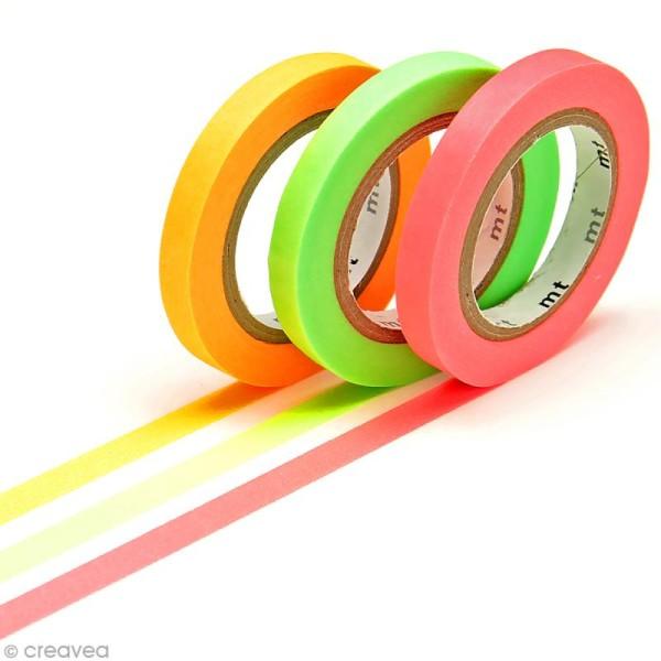Masking Tape Slim fluo - 3 rouleaux - Rose, vert et orange - 6 mm x 10 m - Photo n°1