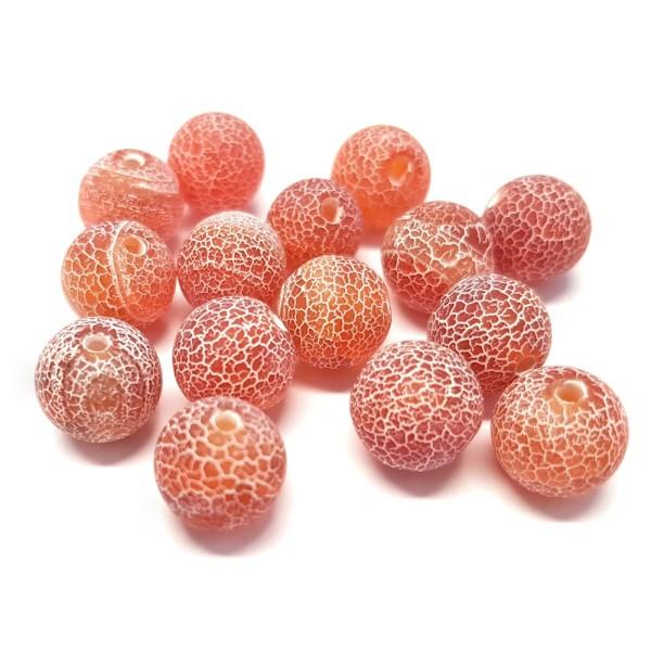 Jaune /& rouge 50 Perles de Bohème en verre craquelée 8/<9 mm