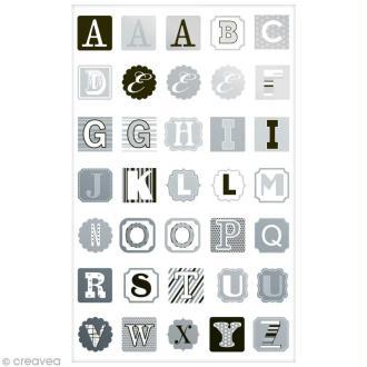 Sticker Fantaisie Cooky - Alphabet noir et argent - 35 pcs