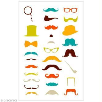 Sticker Fantaisie Cooky - Moustaches - 29 pcs