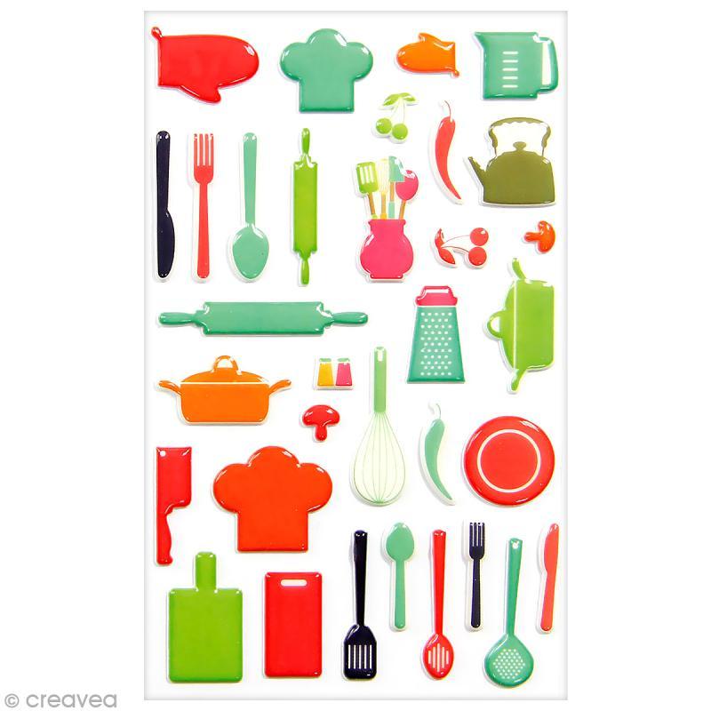Sticker fantaisie cooky ustensiles de cuisine 33 pcs for Acheter des ustensiles de cuisine