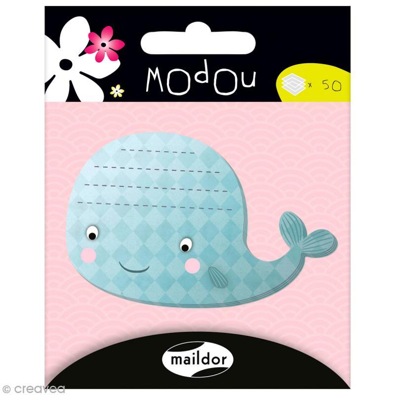Mémo adhésif Modou - Baleine x 50 pcs - Photo n°1
