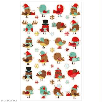 Sticker Fantaisie Cooky - Noël oiseaux - 24 pcs