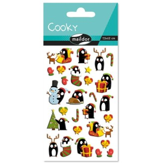 Sticker Fantaisie Cooky - Noël pingouin - 18 pcs