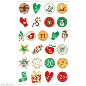 Sticker Fantaisie Cooky - Calendrier de l'avent - 25 pcs