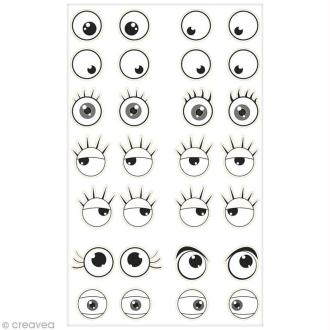 Sticker Fantaisie Cooky - Yeux - 28 pcs